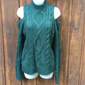 New Beautiful Green Cold Shoulder Sweater Size Med